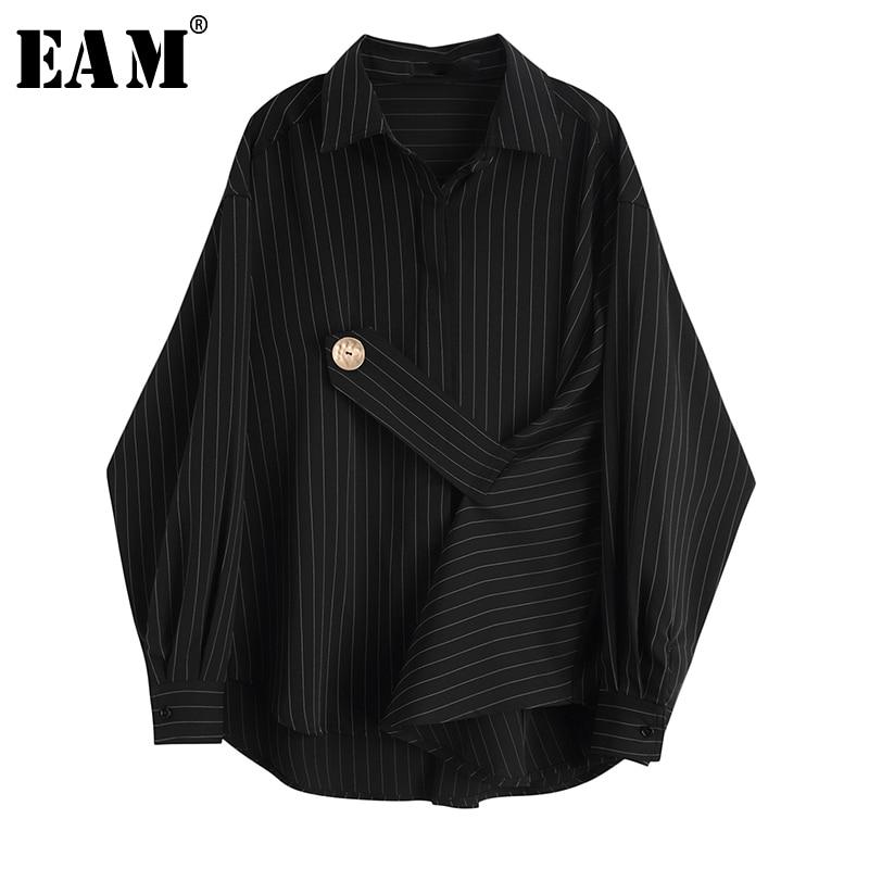 [EAM] Women Black Striped Big Size Blouse New Lapel Long Sleeve Bandage Loose Fit Shirt Fashion Tide Spring Autumn 2020 JY853