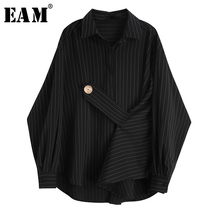 [EAM] Women Black Striped Big Size Blouse New Lapel Long Sleeve Bandage Loose Fit Shirt Fashion Tide Spring Autumn 2019 JY853 [eam] 2018 new autumn lapel long sleeve white printed one pocket loose big size shirt women blouse fashion tide je63301