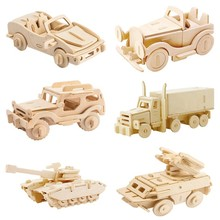 Robotime DIY 3D Wooden Car Truck Puzzle Game Children Kids Natural Color Toy Model Building Kits Educational Hobbies Gift JP237(China)