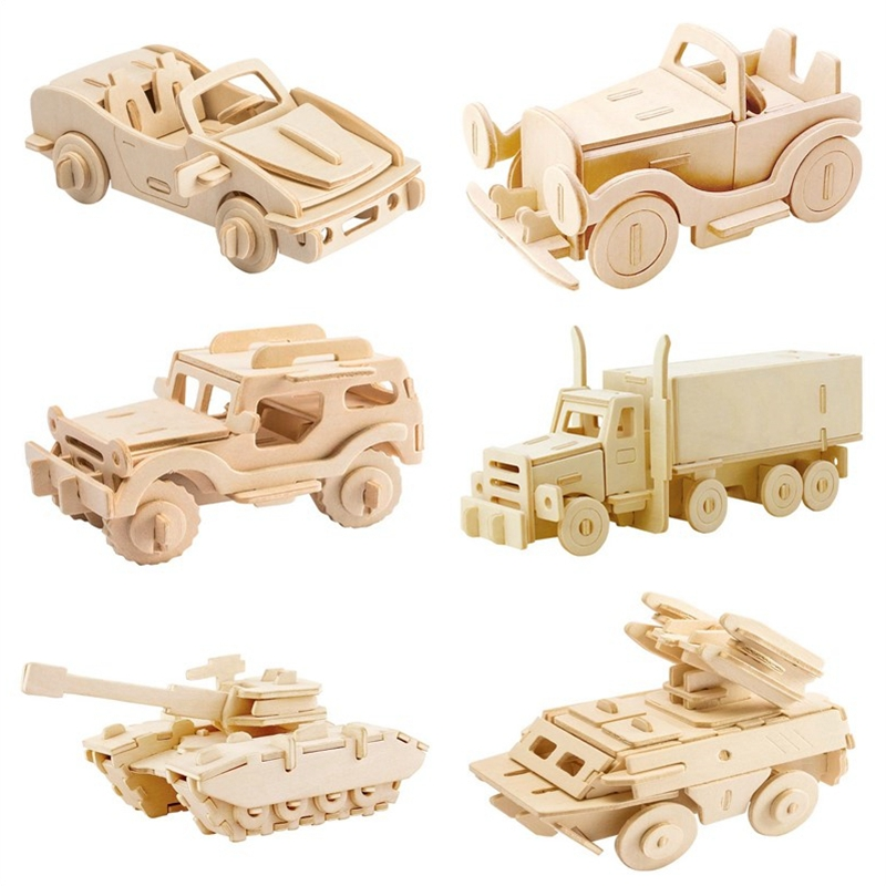 Robotime DIY 3D Wooden Car Truck Puzzle Game Children Kids Natural Color Toy Model Building Kits Educational Hobbies Gift JP237 robotime 3d puzzle dinosaur style wooden educational toy for kids