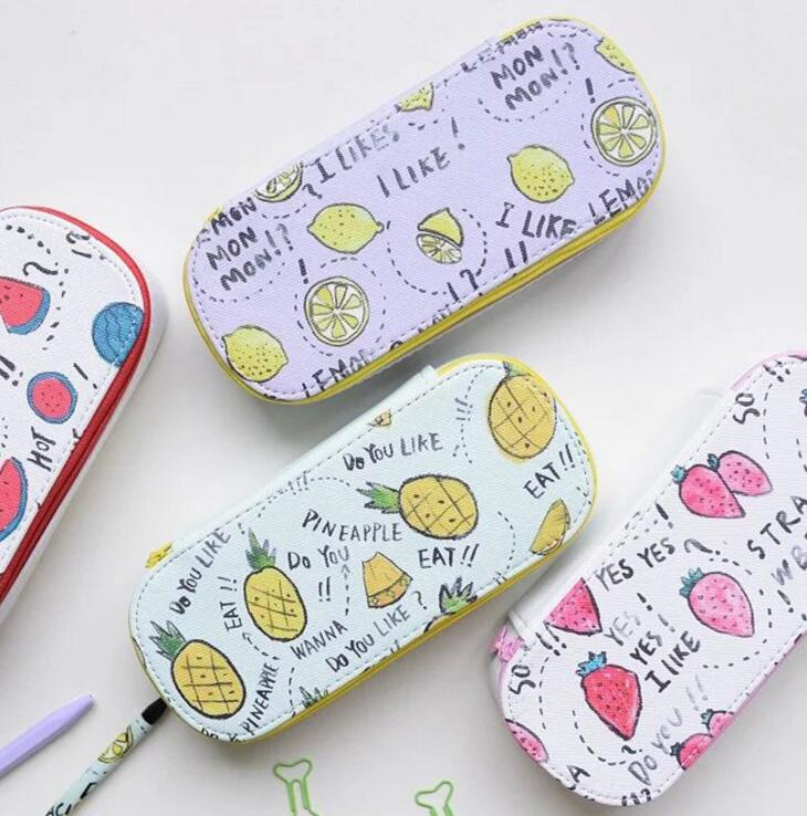 Fresh Fruit Whisper Fabric Large Capacity Pencil Box Desktop Storage Box Tin Pencil Case School Office Supply Gift Stationery cute cat pen holders multifunctional storage wooden cosmetic storage box memo box penholder gift office organizer school supplie