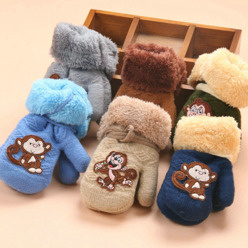 Boys' Baby Clothing Gloves & Mittens Responsible 2018 New 1-3year Months Baby Knitted Gloves Winter Children Warm Rope Mittens Cotton Wool Solid Button Monkey Mittens For Babies Large Assortment