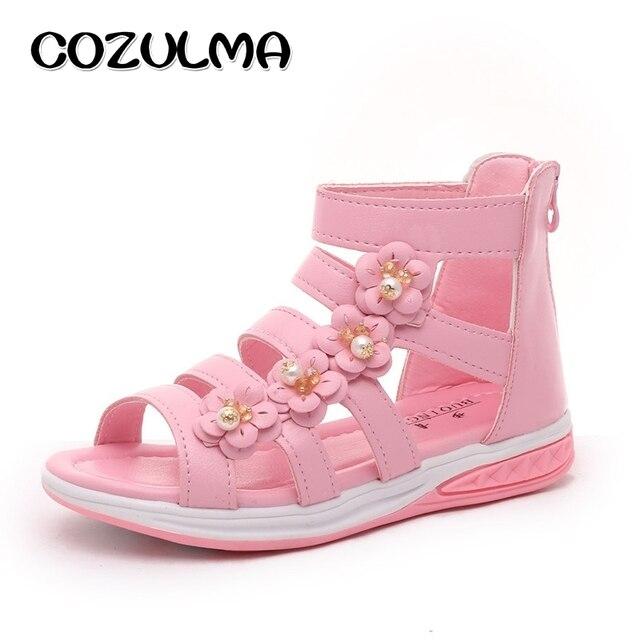 COZULMA New Girls Pearl Flower Sandals Children Beach Shoes Summer Style  Kids Roman Sandals Girls Princess 783a2f00832a