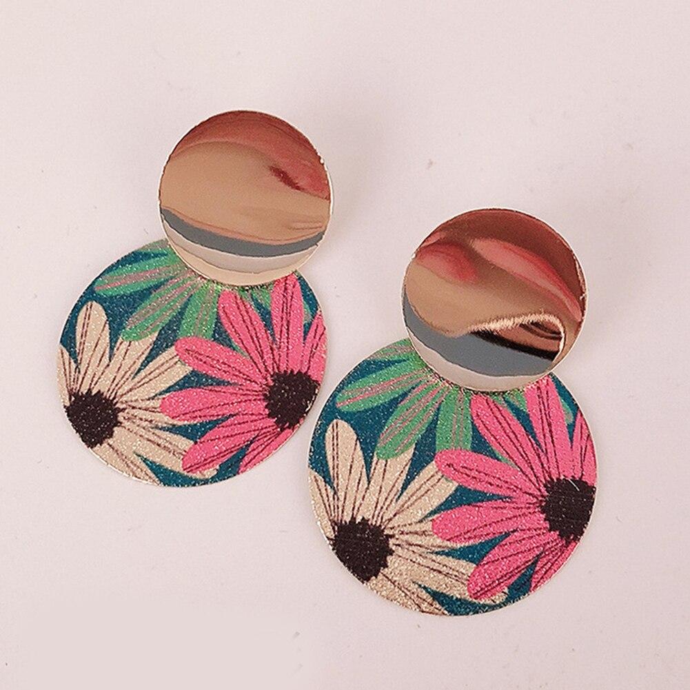 Vintage Ethnic Earrings Flower Round Statement Geometric Women Fashion Drop Harajuke Jewelry