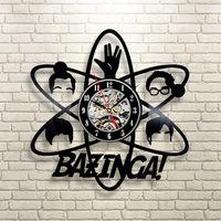 Bazinga Big Bang Theory New CD Vinyl LED Record Wall   Clock   Black Hollow Personalized Creative Wall Art Hanging   Clocks