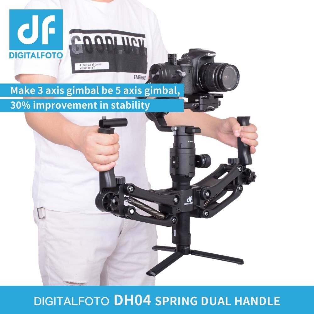 DH04 4.5 kg Max Charge 3 Z axe Cardan Grip Guidon Printemps Double Poignée pour DJI RONIN S OSMO Zhiyun lisse 4 Grue 2 Grue M Plus