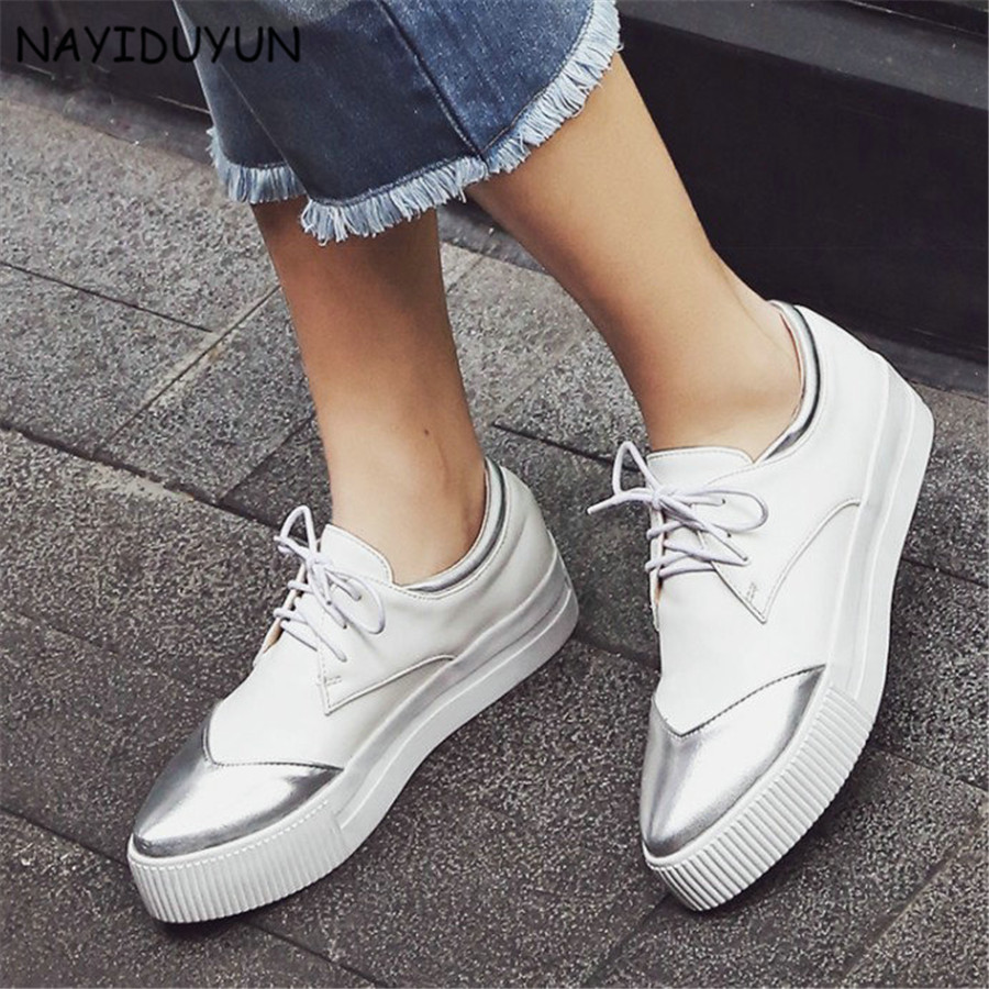 NAYIDUYUN     Women Lace Up Wedge Platform Low Top Ankle Boots Point Toe Low Heels Party Sneaker Pumps Casual Punk Oxfords Shoes nayiduyun women casual shoes low top platform wedge high heels boots round toe slip on pumps punk chic shoes black white sneaker