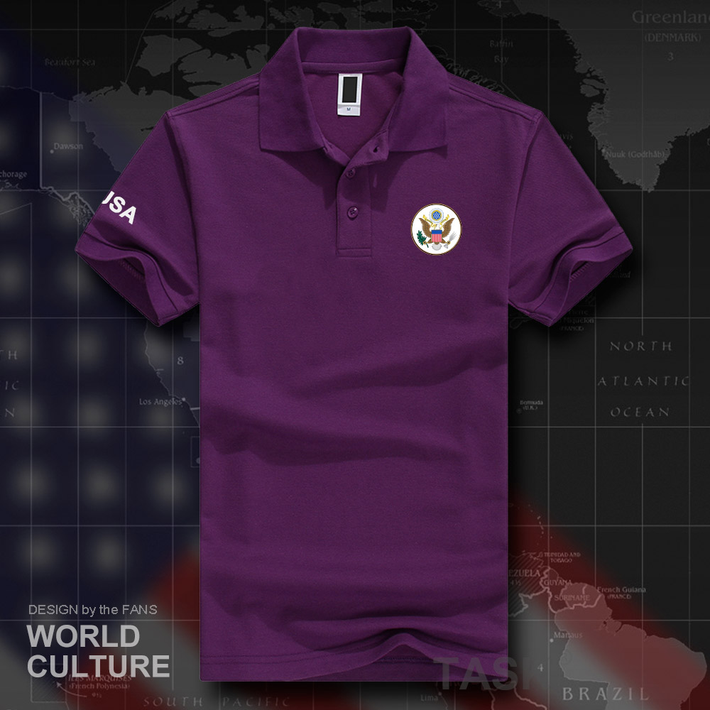 US $9 8 |United States of America USA polo shirts men short sleeve white  brands printed for country 2018 cotton nation emblem new fashion-in Polo  from