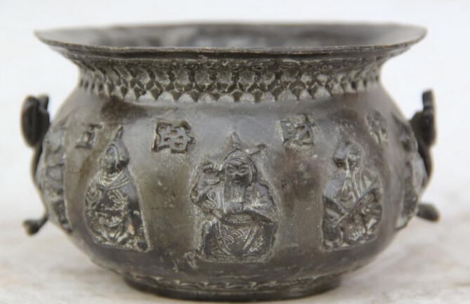 "JP S61 5"" Chinese Copper Ru Yi circular Mammon Money Wealth God Incense Burner Censer"