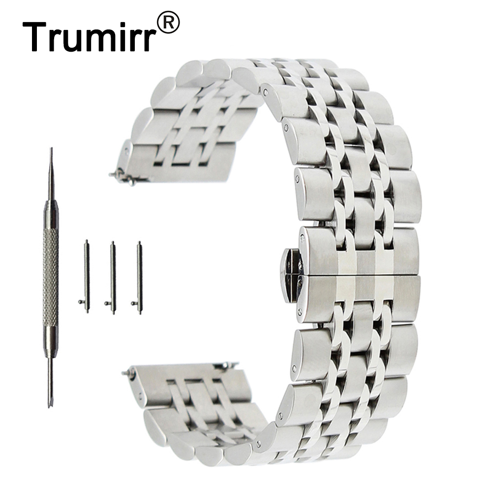 20mm 22mm Stainless Steel Watch Band for Fossil Butterfly Buckle Strap Quick Release Wrist Belt Bracelet + Spring Bar + Tool stainless steel watch band 26mm for garmin fenix 3 hr butterfly clasp strap wrist loop belt bracelet silver spring bar