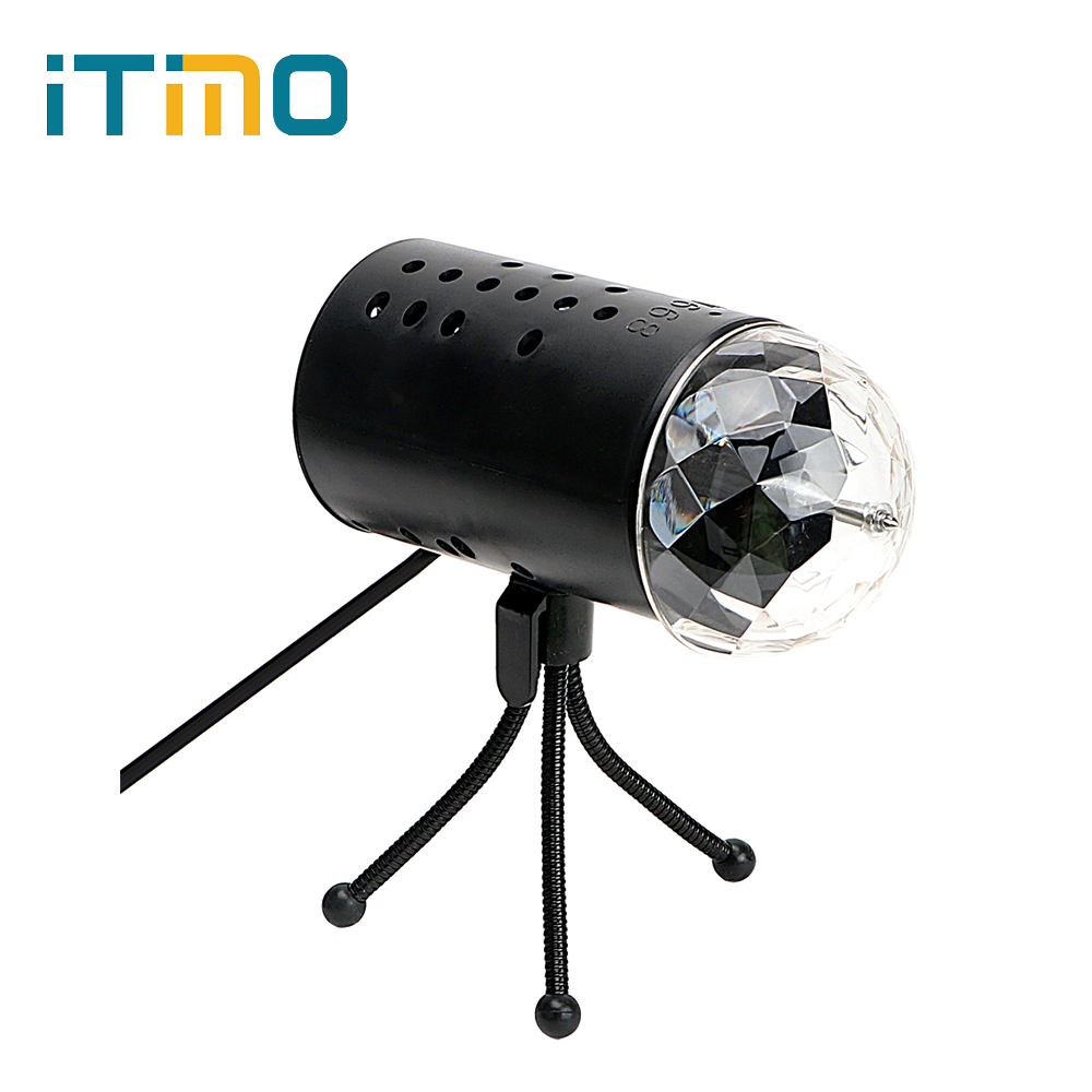 iTimo RGB Stage Light Auto Rotating EU/US Plug DJ Club Disco Ball Crystal Magic Ball Laser Stage Lighting Home Decor Party Lamp adjustment led rgb white lighting projector laser strobe stage light effect dj disco party club ktv night lamp bulb us eu plug