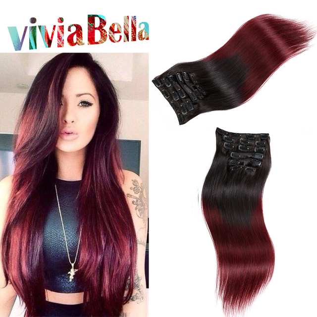 7a Ombre Clip In Hair Extensions T1bburgundy Human Hair Clip Ins