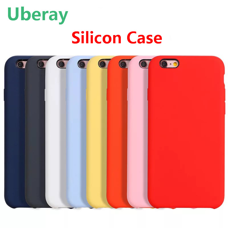 Original Silicon Case For <font><b>iphone</b></font> 6 6s 6plus 6s Plus 7 7Plus Cover with LOGO For <font><b>iphone</b></font> 8 8plus with Transparent tempered glass