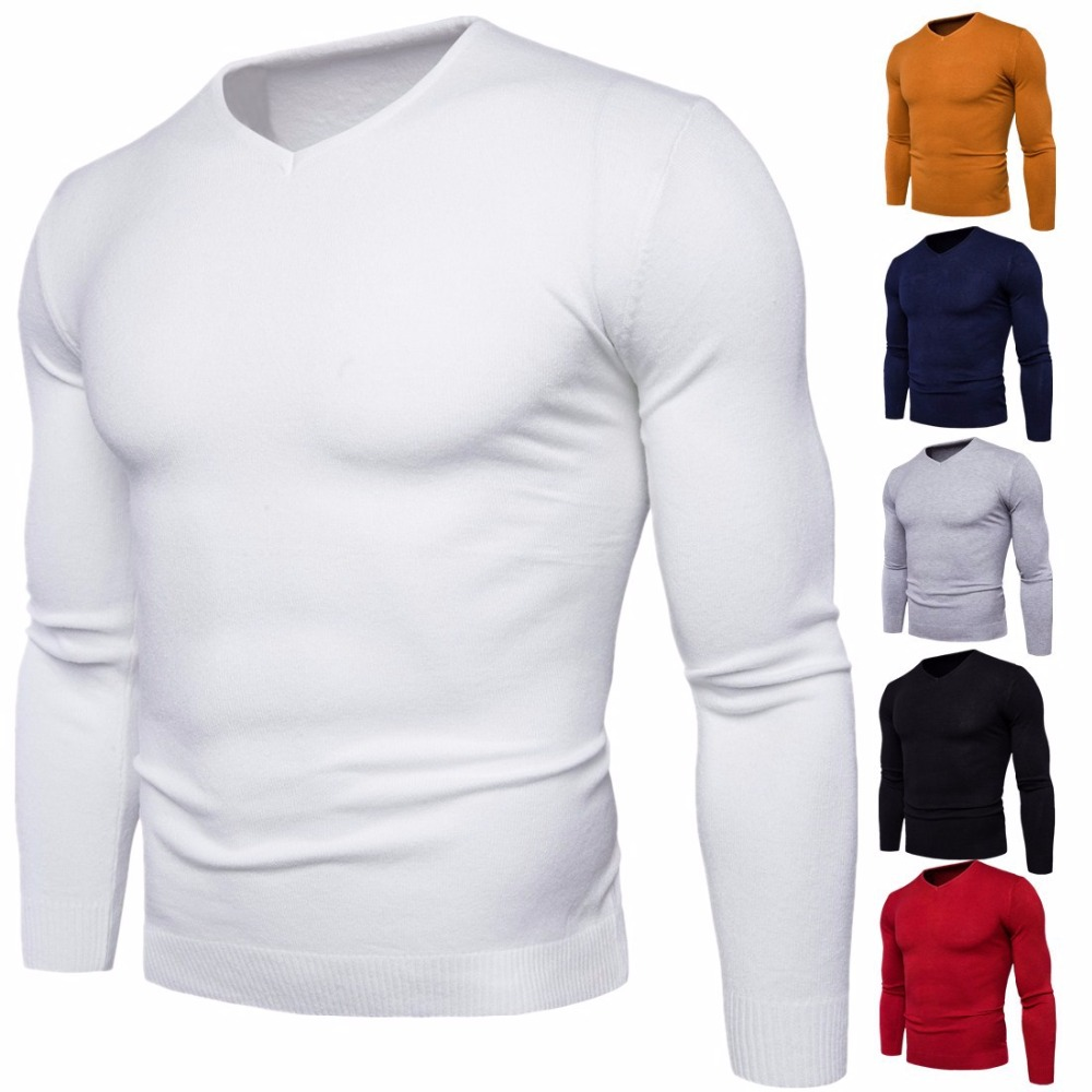 2018 Autumn winter men's V-neck sweater Fashion Slim Fit solid color Knitted long-sleeved Pullovers men's sweater Tops M-2XL