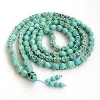 108 Beads Buddhist Tibetan Carved Skull green stone&Turquoises Prayer Mala necklace