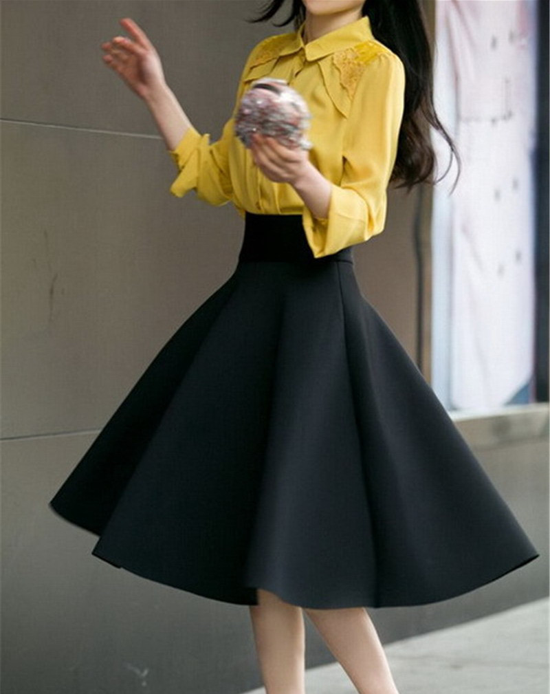 Aliexpress.com : Buy High Waist Pleat Elegant Skirt Green Black ...
