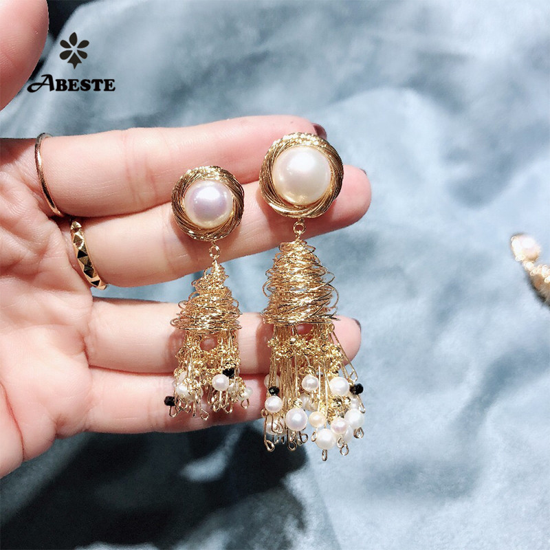 ANI 14K Roll Gold Handmade Women Drop Earring Natural Freshwater White Pearl Fine Dangle brincos para as mulheres