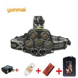 yunmai CREE 7*LED XML T6 XPE Q5 Headlight 20000LM 6 Mode Headlamp Rechargeable Head Flashlight Lamp Frontal Camp Hike Light