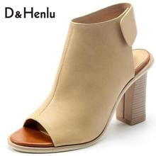 {D&H}Brand Shoes Woman Summer Gladiator Women Sandals sexy Peep Toe Ankle Strap high heel sandals Gift socks sandalias de salto
