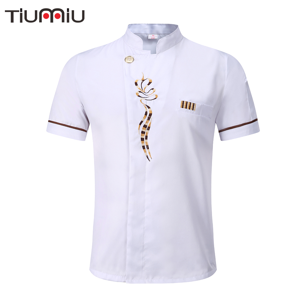 New 5 Colors Unisex Kitchen Chef Uniforms High Quality Short Sleeve Breathable Chef Jackets Aprons Bakery Food Service Chef Coat