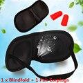 Máscara de olho Preto Dormir Blindfold Eyeshade Eyepatch com Tampões Sombra Luz Guia Tampa Aid Viagem do Sono Atacado