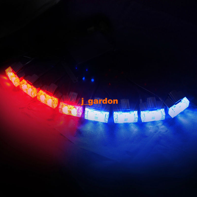 VSLED 2x 8 LED 1W (16 LED) Flashing Beacon Recovery Light Emergency Grill Light Waterproof Magnets Red/Blue Light
