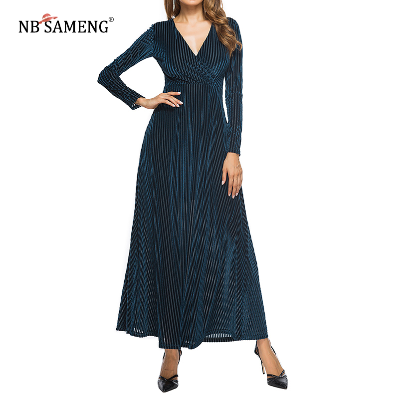Autumn Women Dress 2018 New Fashion  Long Sleeve Bodycon V-Neck Knitted Velvet Dresses Vestidos Casual Slim Dress Size S-XL crew neck velvet bodycon dress