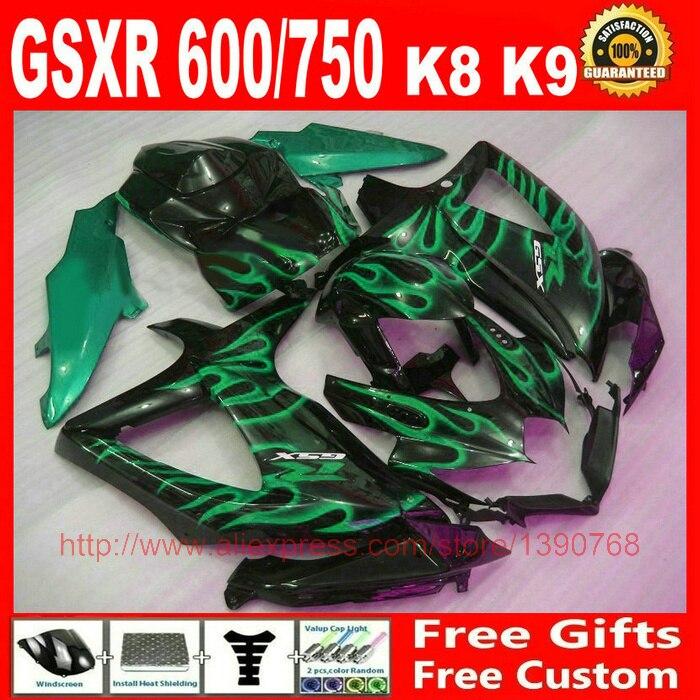 En plastique Carénage kit pour Suzuki 2008 2009 2010 GSXR 600 GSXR 750 vert flammes noir carénages ensemble K8 K9 08 09 10 GSXR 600 750 S331