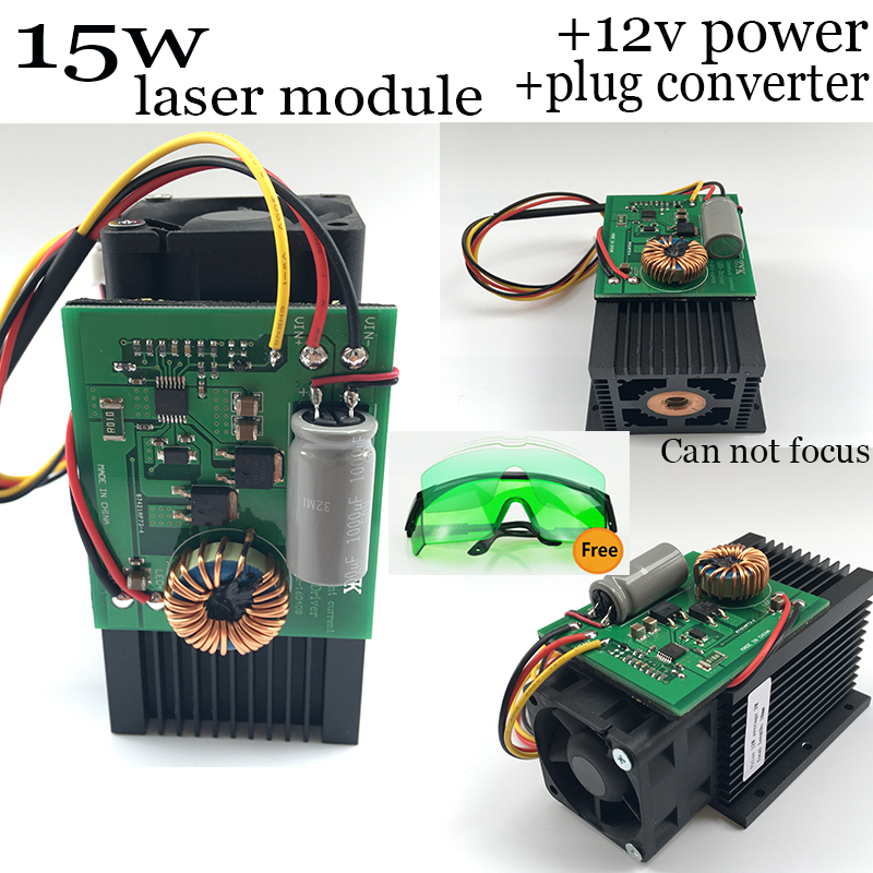 DIY 445nm 15W 15000mW Blue Laser Module High power For CNC Cutter metal steel Engraver Engraving