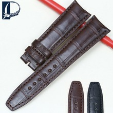 Pesno Suitable for Baume Mercier CLIFTON Men Watchband Crocodile Leather Watch Strap with Bamboo Grain Black