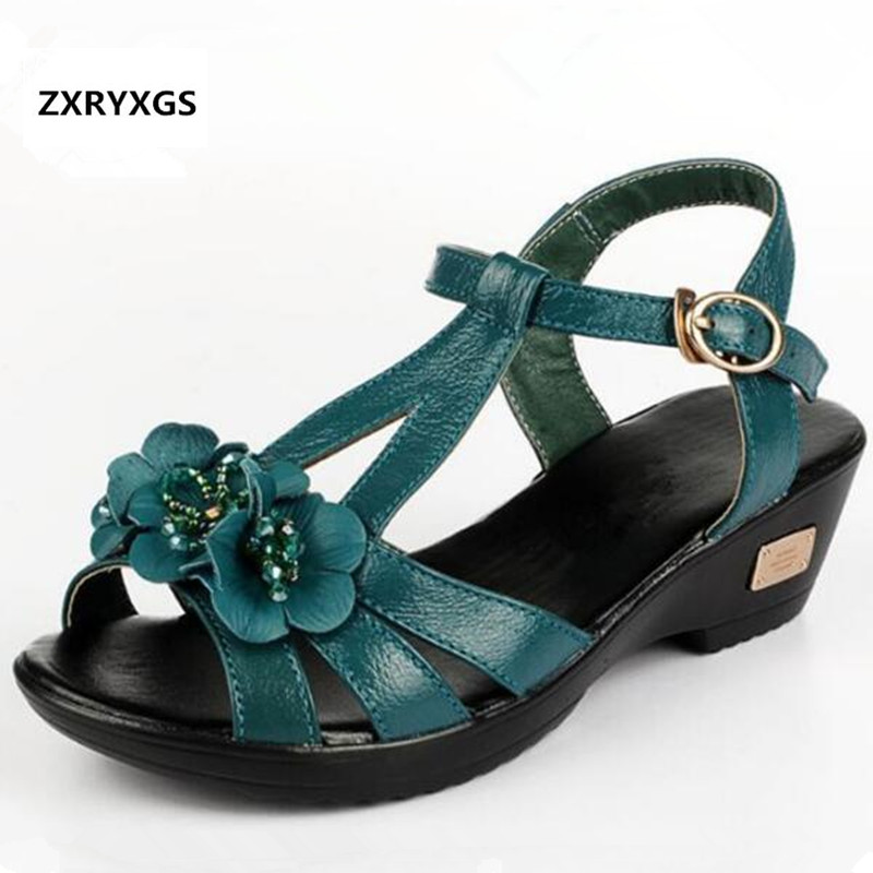 ZXRYXGS Brand sandals genuine leather shoes women summer sandals 2019 rhinestone Flowers summer shoes fashion sandals Plus SizeZXRYXGS Brand sandals genuine leather shoes women summer sandals 2019 rhinestone Flowers summer shoes fashion sandals Plus Size