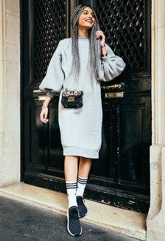 5af3692f990 AEL длинные толстовки Повседневные платья женские свободные рукава-фонарики  Высокое качество Мода Новое поступление Теплые