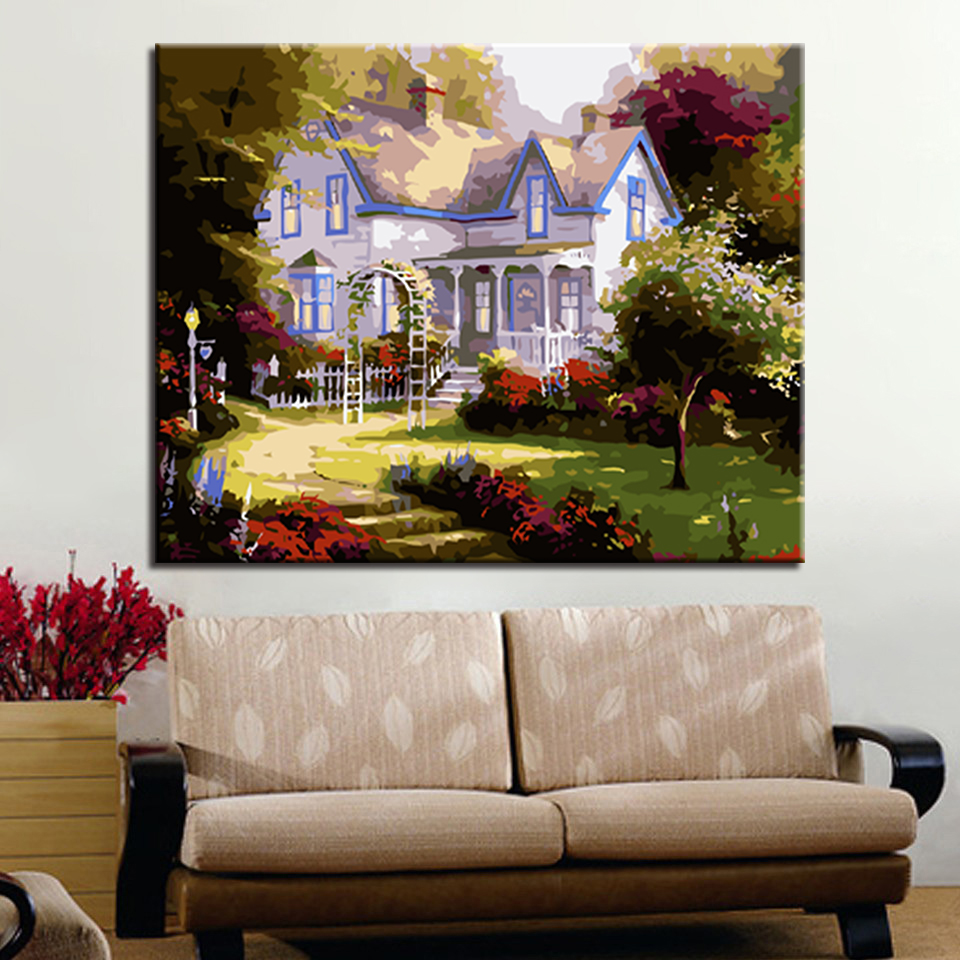 European-Style Cottage Garde Picture By Numbers Kits Hand painted Oil Style On Linen Canvas Modern Unique Gift DIY Painting