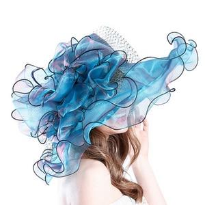 Image 4 - Fashion Summer Organza Kentucky Derby Hats For Women Elegant Laides Church Wedding Wide Large Brim With Big Flower Hat