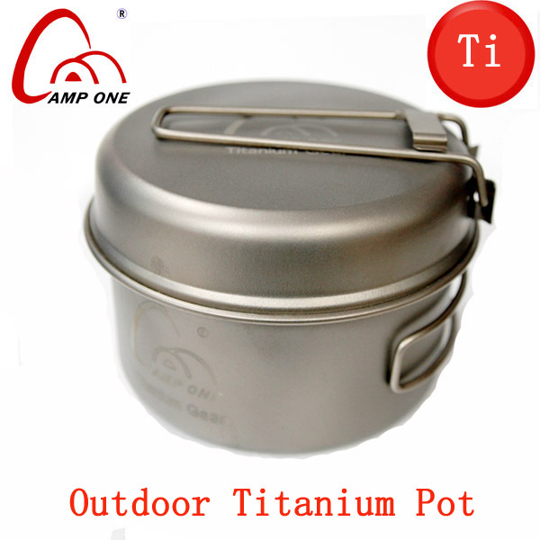 Double Anium Cookware Camping Pot Outdoor Fry Pan Ti Portable Cookset Cooking Utensils Tableware