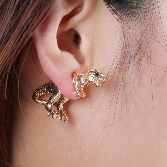 Doreen Box Double Sided Ear Post Stud Earrings Gold Color Dinosaur Animal Green Rhinestone 28mm