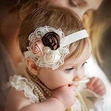 Baby Girls Headwear Retail 2015 new fashion baby girls Lace mix 3 Rose headbands Children Flower Accessories W033