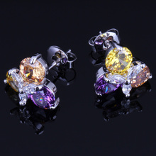 Heavenly Purple Yellow Brown Cubic Zirconia White CZ 925 Sterling Silver Stud Earrings For Women V0173 valuable round green cubic zirconia white cz 925 sterling silver stud earrings for women v0195