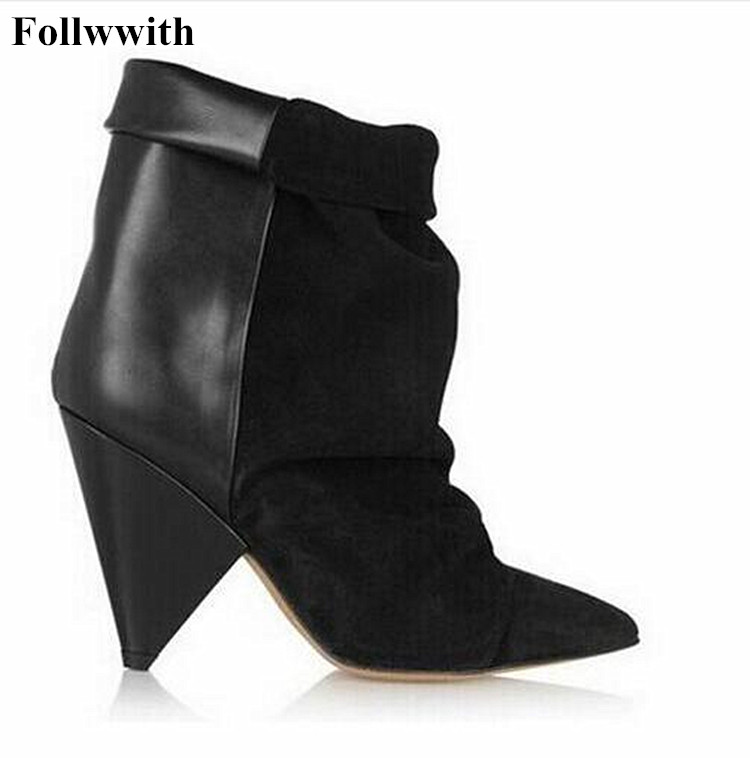 Hot Andrew Pleated Women Boots Shoes Woman Patchwork Spike High Heel Ankle Boots Fashion Brand Slip On Suede Leather Botas Shoe basic editions women dark grey suede leather spike high heel chain accessories winter long boots 1105 1422 aj91
