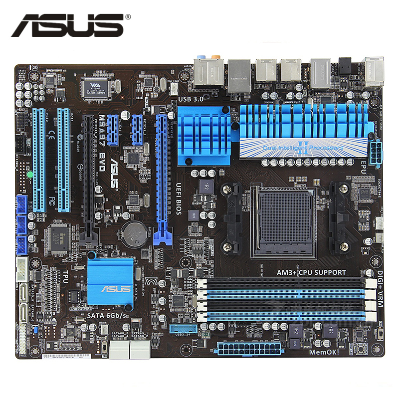 цена ASUS M5A97 EVO Motherboard Socket AM3+ DDR3 32GB For AMD 970 M5A97 EVO Desktop Mainboard Systemboard SATA III PCI-E X16 Used