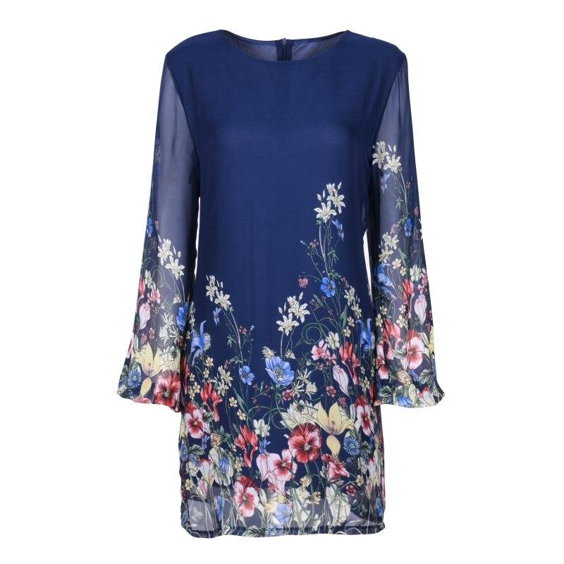 2017 Women Elegant  Long Sleeve Floral Print Chiffon O-neck Dress  Ladies Autumn Spring Dresses
