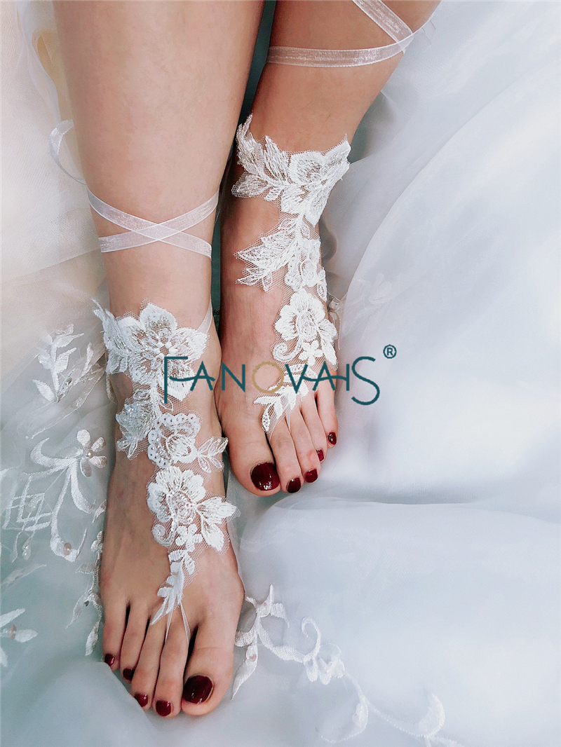 efccd0af5684d Free Shipping 1 Pair Wedding Barefoot Sandals Beach Wear Anklet Bridal  Gloves Sequined Foot Lace Yoga Shoes Bridal Gloves WB5-in Bridal Gloves  from Weddings ...