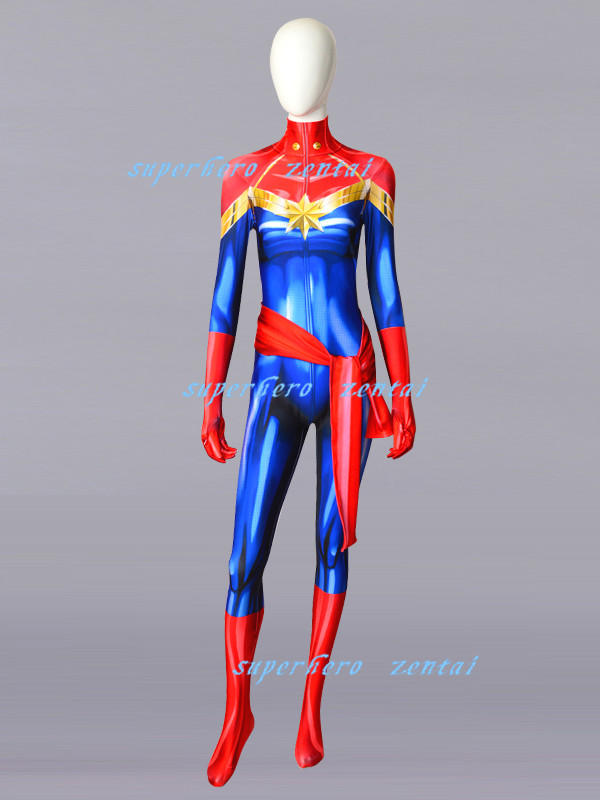 Captain Marvel Carol Danvers Cosplay Costume NEW Spandex Superhero Zentai Bodysuit Jumpsuit Halloween Catsuit Female/Girl/Women