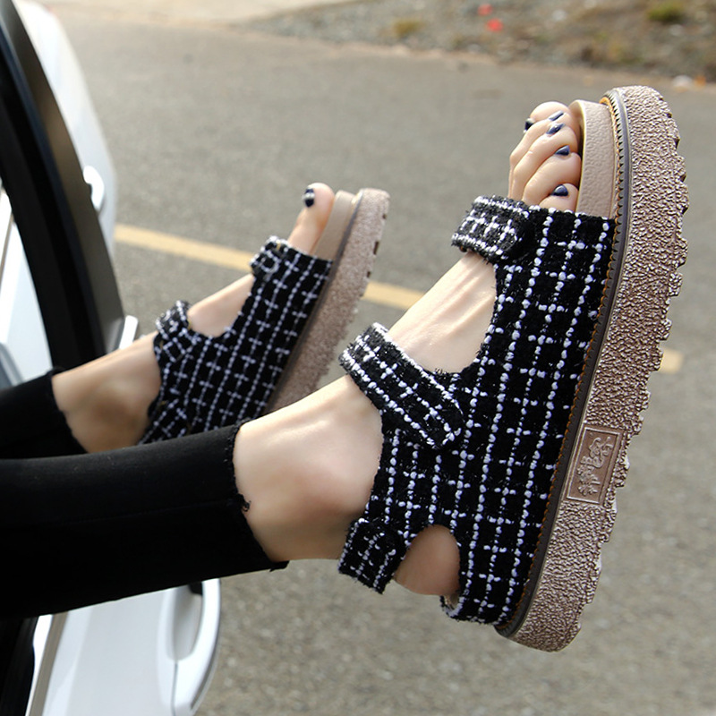 Women with Fashion Designer Flat Hook Loop Summer Shoes Open