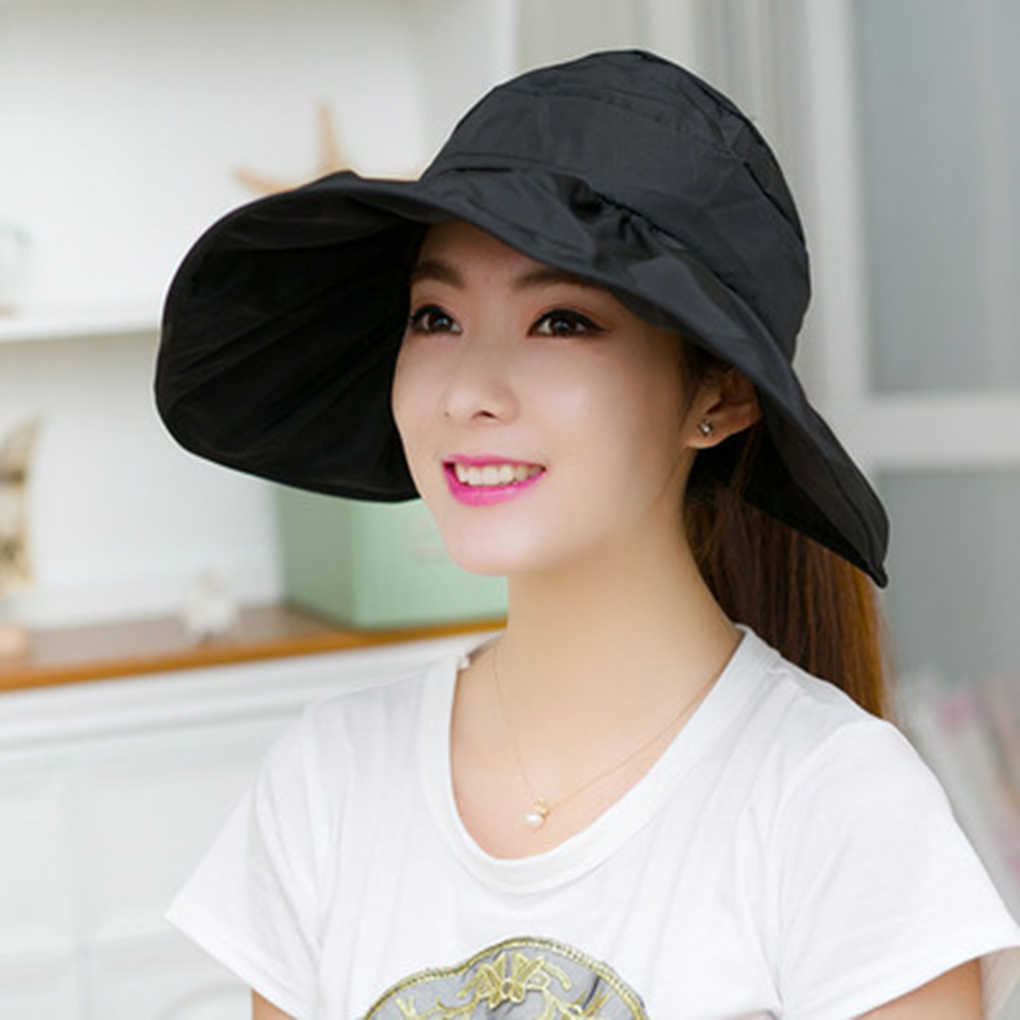 aa1d3697 Hot Style Summer Women UV Protection Canvas Sun Hat Wide Brim Floppy Fold  Beach Cap