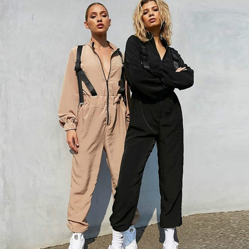 NCLAGEN 2019 Fashion Ribbons Buckles Loose Casual Jumpsuits Women Long Sleeve Overalls Streetwear High Waist Sexy Cargo Pants