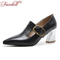 FACNDINLL Fashion Women Pumps Shoes Genuine Leather High Heels Pointed Toe Shoes Woman Dress Party Office