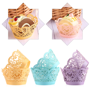 Image 4 - 12pcs/lot Little Vine Lace Laser Cut Cupcake Wrapper Liner Baking Cup Hollow Paper Cake Cup DIY Baking Fondant Cupcake