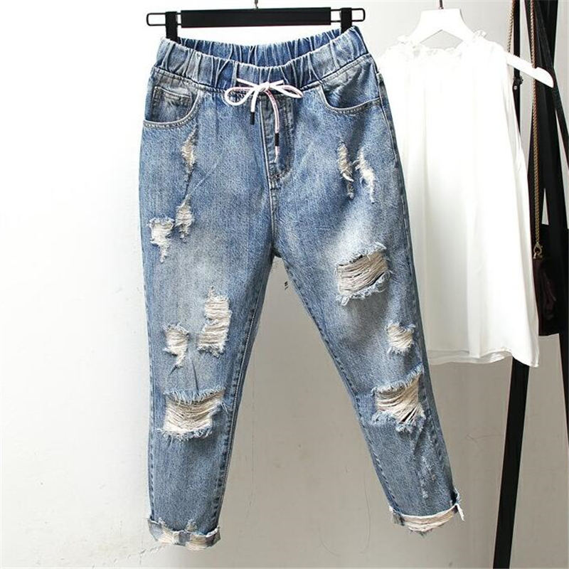 Boyfriend Jeans For Women Ripped Hole High Waist Jeans Femme Vintage Harem Pants Casual Streetwear Plus Size Mom Jeans 4XL Q1280