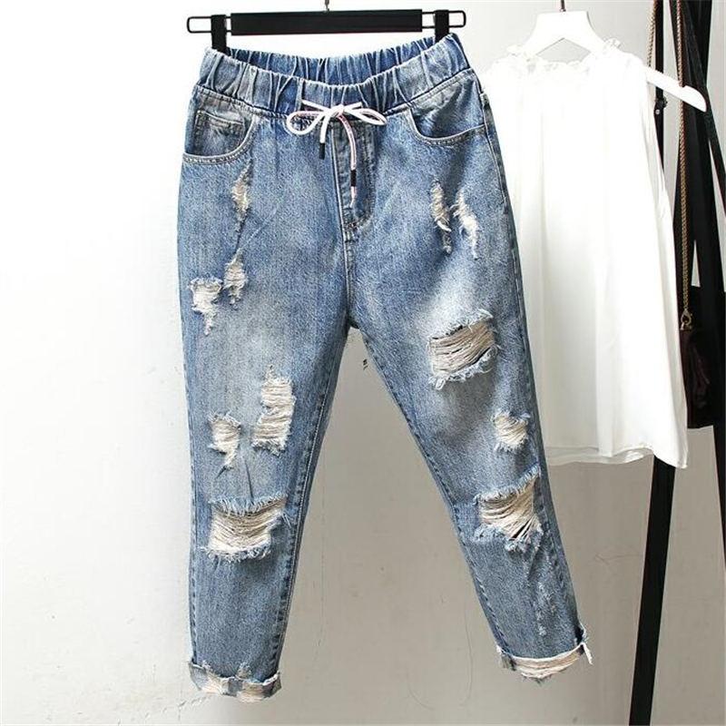 Boyfriend Jeans For Women Ripped Hole High Waist Jeans Femme Vintage Harem Pants Casual Streetwear Plus Size Mom Jeans 4XL Q1280